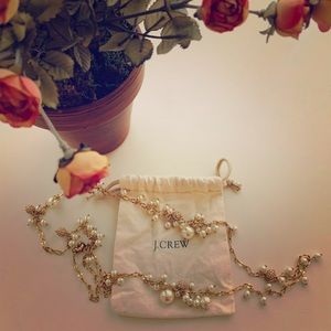 J.Crew Pearl & Crystal Charm Necklace